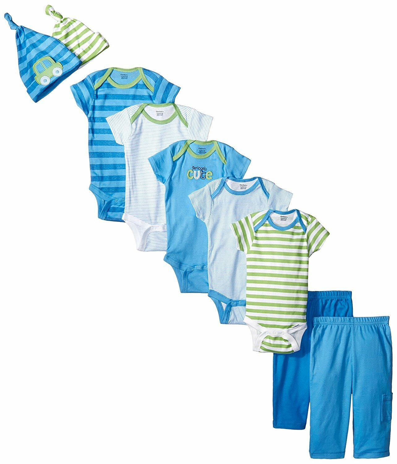 Gerber Baby Boys' Seriously Cute 9 Piece Bodysuits Pants and