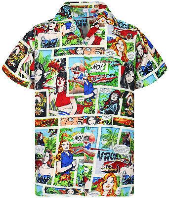 Funky Hawaiihemd Comic Multi Colour verschiedene Größen Hawaiishirt  Funky Multi Color