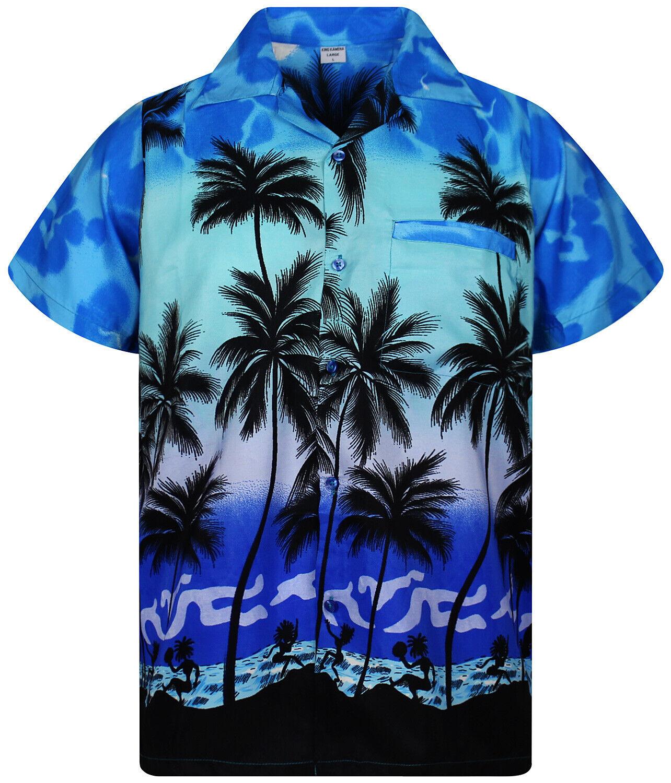 Funky Hawaiihemd Herren Kurzarm Front-Tasche Hawaiian Shirt Beach Monoblau Hawai