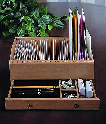 Natural Wood Space Saver Letter and Bill Organizer Compartments Drawer Desk Top