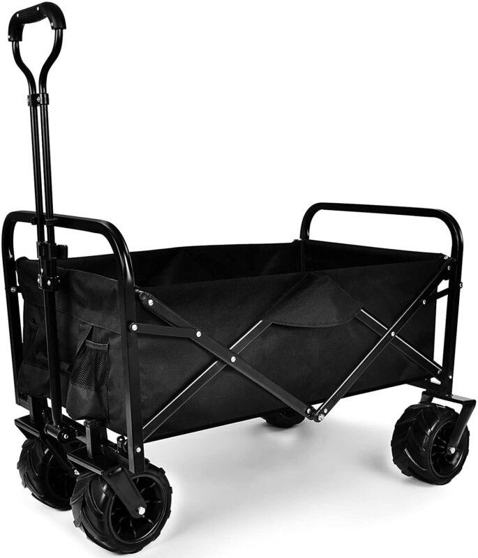 Heavy Duty Folding Portable Cart Wagon w/All-Terrain Wheels for Park,shopping