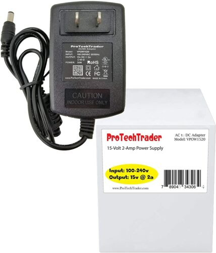 15 Volt 2 Amp AC/ DC Adapter 30w 15v 2a UL Trilithic 860 DSP Cable Modem charger