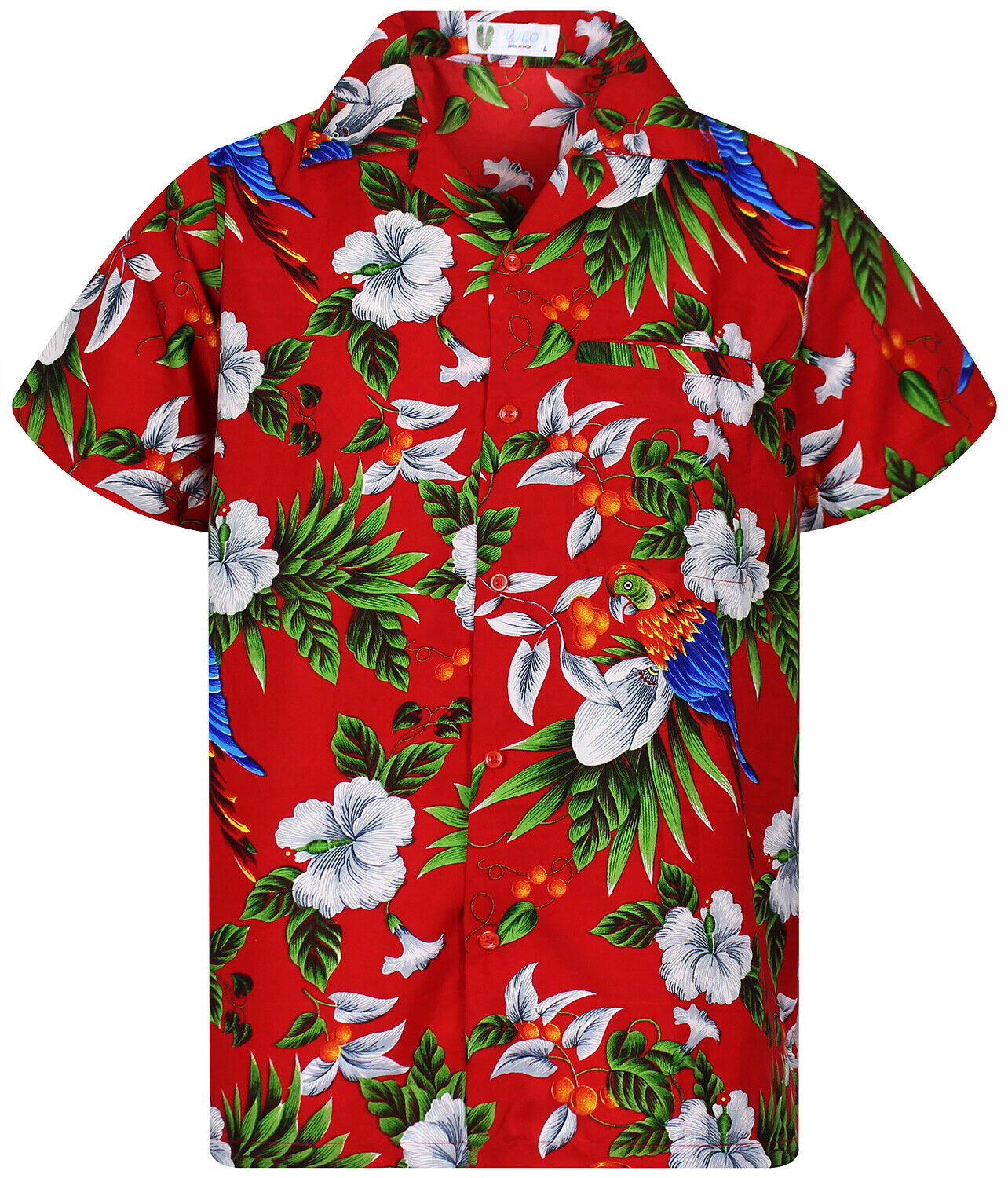 Funky Hawaiihemd Cherry Parrot Rot Hawaiian Shirt Hawaii