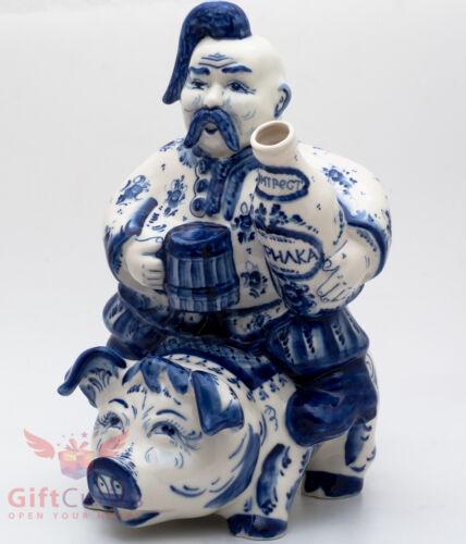 Gzhel porcelain shtof for vodka Horilka Ukrainian Cossack handmade 2.5L