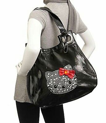 SANRIO HELLO KITTY BLACK WITH RED BOW LARGE HOBO TOTE PURSE BAG CHRISTMAS GIFT