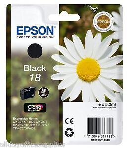Epson 18 Daisy Black Original Genuine Ink Cartridge T1801 Epsom 18 Daisy Ink