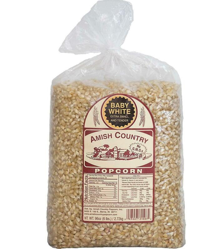 Amish Country Popcorn Baby White Hulless 6 Pounds most tender popcorn varieties