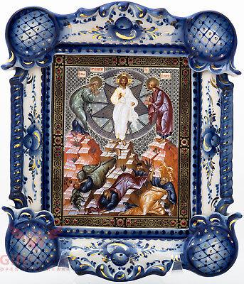 Porcelain Gzhel Christian Icon Of Transfiguration Of Jesus