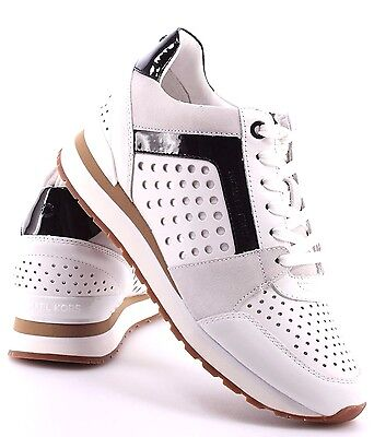 MICHAEL KORS women's BILLIE TRAINER SNEAKERS Lasered Leather Lace Up WHITE 9.5 M