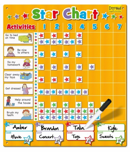 LARGE MAGNETIC STAR REWARD CHART UP TO 4 CHILDREN - FOR GOOD BEHAVIOUR