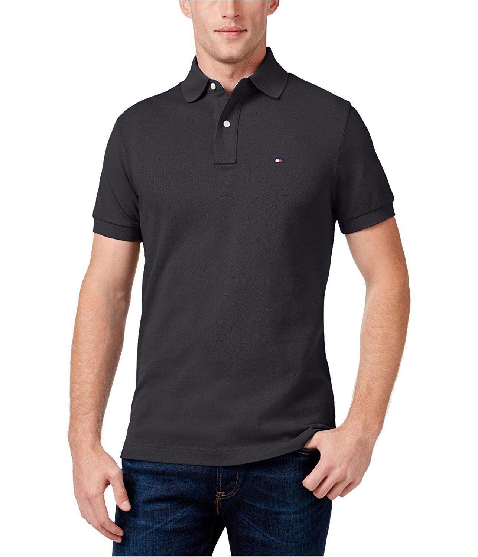 Tommy Hilfiger Mens Pique Custom Fit Short Sleeve Casual Shirt Gray