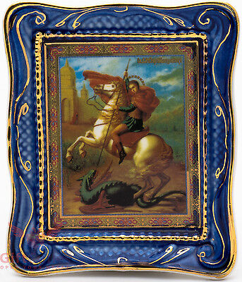 (Orthodox Gzhel porcelain decal Icon St. Saint George Георгий Победоносец)