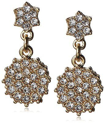 Fragments Gold Plated Pavé Cubic Zirconia Crystal Floral Drop Post Earrings NWT