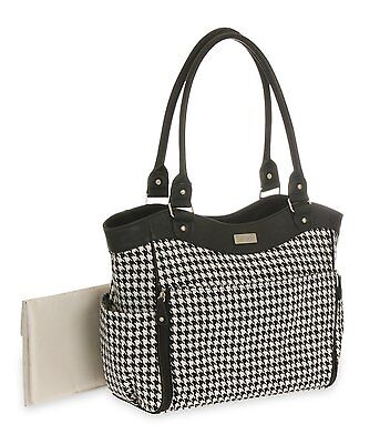 Carter's Drop Front Houndstooth Tote Diaper Bag, Black/White