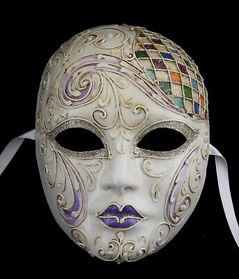 Mask from Venice Face Harlequin Multicolour Golden Authentic Paper Mache 22519