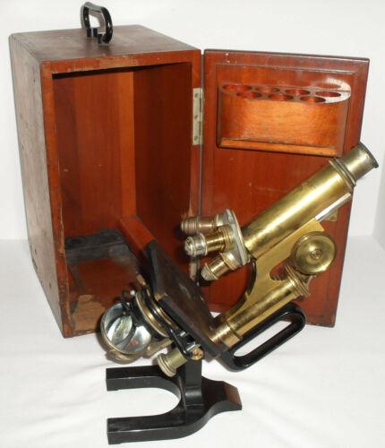 Antique Reichert Wein Brass German Microscope Jug Handle Wood Case Made 1917