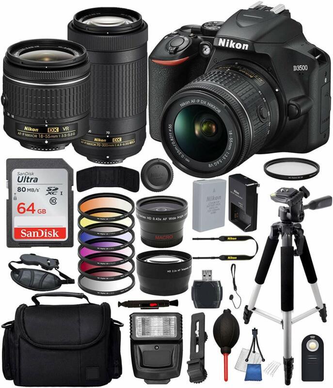 Nikon D3500 DSLR Camera w/ AF-P DX 18-55mm & 70-300mm Lens 64GB Tripod Bundle