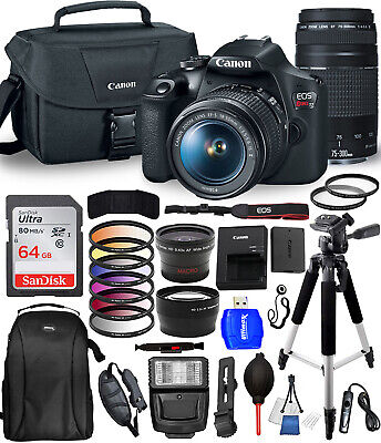 Canon EOS Rebel T7 Camera 18-55mm + 75-300mm Top Value Bundle AUTHORIZED DEALER