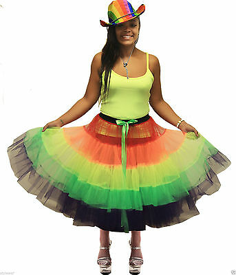 LADIES RAINBOW 80'S TUTU RETRO HEN CLOWN FANCY DRESS SKIRT HAT VEST FULL OUTFIT