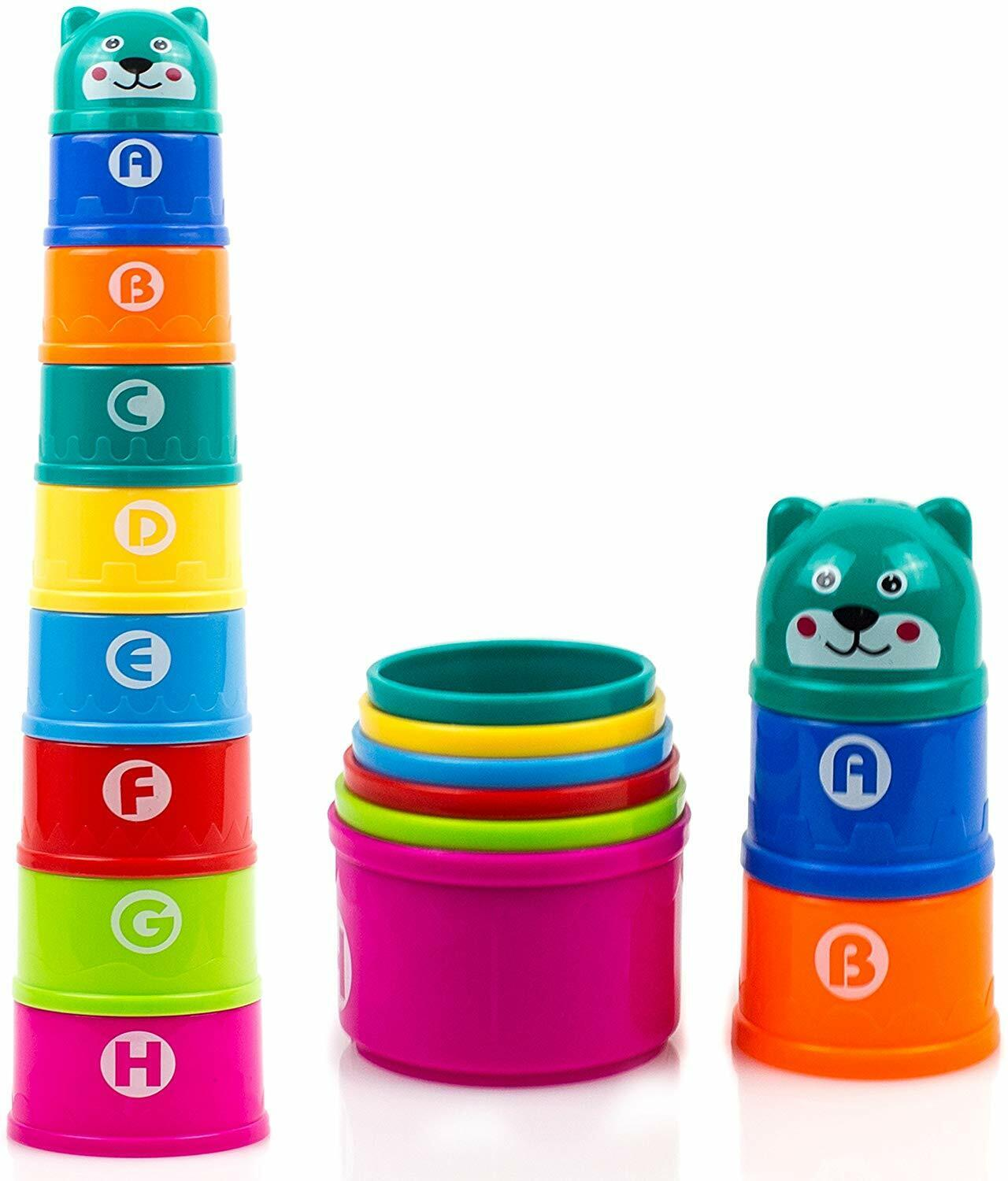 New Stacking Cups with Numbers Letters & Animals Bath Toys for Toddler Kids 8Pcs