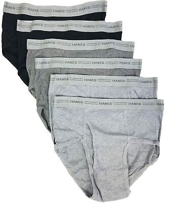01a6394411 Men s Briefs Medium Hanes Fashion Mid Rise Pack of 6 Assorted Black   Gray  7800