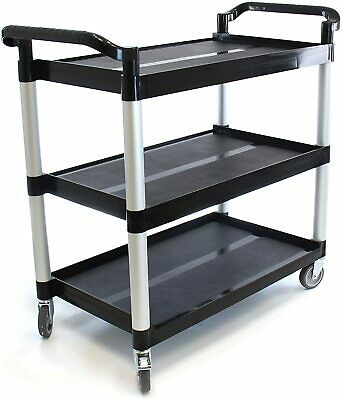 Farag Janitorial Heavy-duty 3-shelf Rolling Serviceutilitypush Cart. 350 Lbs.