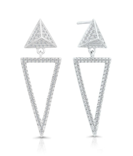 Sterling Silver CZ 3D Geometric Open Triangle Dangle Drop Stud Earrings 25mm