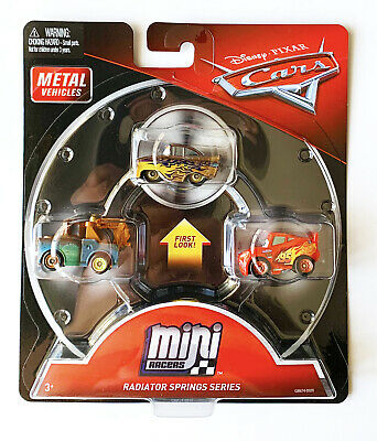 Disney Pixar Cars Mini Racers Gold Ramone Mater Lightning McQueen 3-Pack New