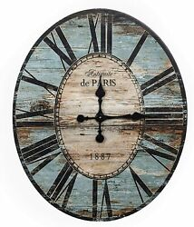 Wall Clock 29 2.5' Large Wooden Distressed Blue Coastal Rustic Shabby Chic Farm