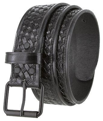 Uniform Work Belt Roller Buckle Full Grain Leather Basketweave Belt 1-1/2