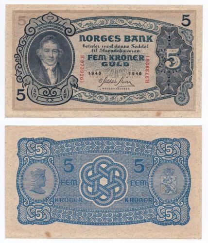 Norway, 5 Kroner 1940, Pick 7c, aUNC