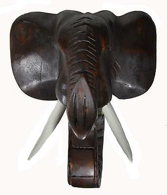 ELEPHANT HEAD AFRICAN MASK JUNGLE SAFARI WOOD SCULPTURE HOME WALL AFRICAN ART (African Elephant Wall Mask)