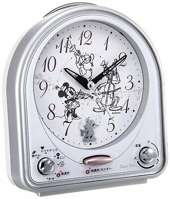 Seiko Clock Alarm Analog Switchable Mickey & Friends Disney Time Silver FD464S