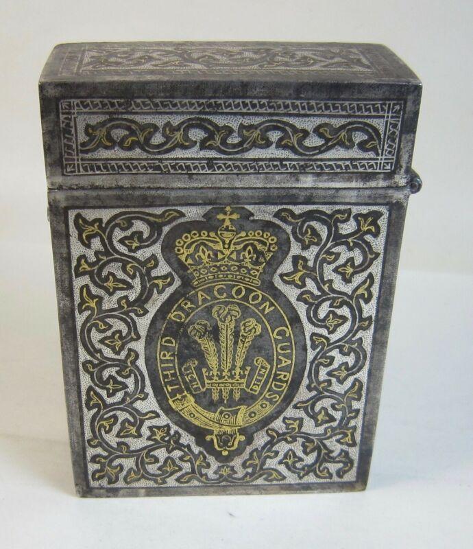 Beautiful Antique WWI 3rd Dragoon Guards Cigarette Case Box Cairo/Egypt