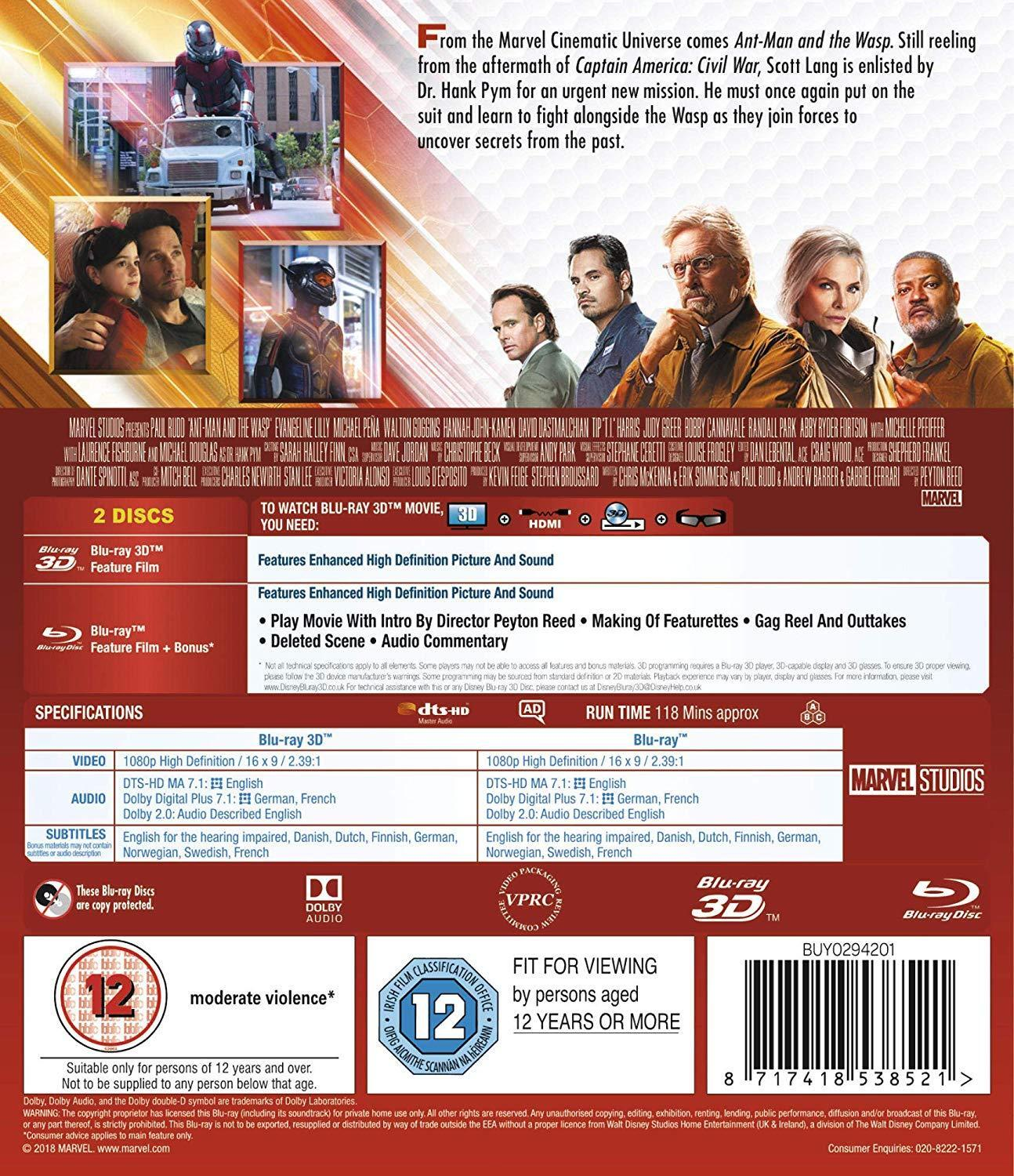 Marvel ANT-MAN AND THE WASP 3D 2D Blu-Ray BRAND NEW Free Ship - $26.99