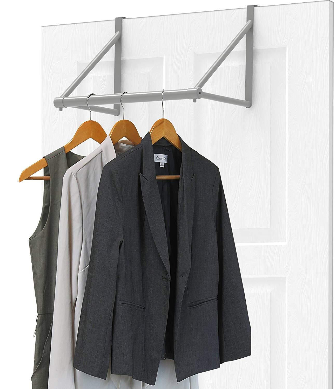 Over The Door Clothes Hanging Bar Rack Valet Hanger Space Sa