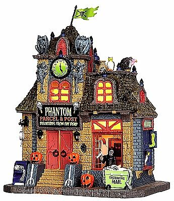 Lemax 45667 PHANTOM PARCEL & POST Spooky Town Lighted Building Halloween Decor I - Halloween Light Post Decorations