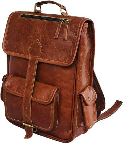 Genuine Leather Rucksack Travel Backpack  School  Bag Men  Shoulder Laptop