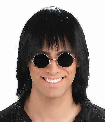 Party Guy Wig 70's Disco Fever Black Fancy Dress Up Halloween Costume Accessory