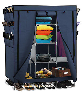 "69"" Portable Closet Storage Organizer Clothes Wardrobe Shoe Rack Shelves Blue"