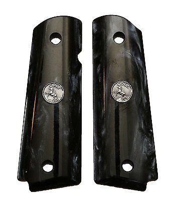 AJAX Custom For 1911 Govt Full Size Grips BLACK Pearlite SILVER Colt Medallion