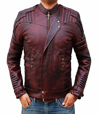 Men Guardians Of The Galaxy Vol 2  Waxed Faux Leather Chris Pratt Jacket