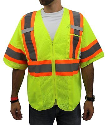 Truecrest High Visibility Class 3 Safety Vest Solid Reflective New D01m22 Yellow