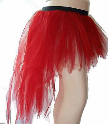 Red 7 Layer Trashy Peacock Bustle Tutu tulle Girl Teen Women Halloween Christmas (Peacock Skirt Halloween)