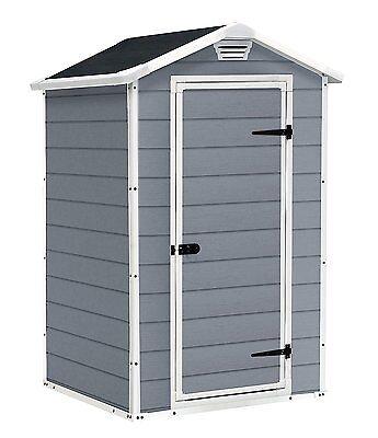 Keter Manor Outdoor Plastic Garden Storage Shed, 4 x 3 In Grey Or Beige