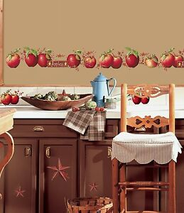 Apples 40 BiG Wall Decals Country Stars Border Kitchen Stickers Room Decor