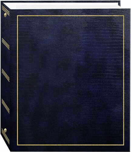 Magnetic Self-Stick Photo Album 100 Pages 50 Sheets Navy Blue 3-Ring Gift New