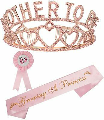 Mother to Be Tiara Gold Hearts Crown   Mom to Be Sash   Dad to Be Pin   Baby Sho
