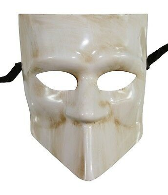 Men's White Bauta Masquerade Full Face Warrior Gladiator One Size Venetian (Warrior Full Face)