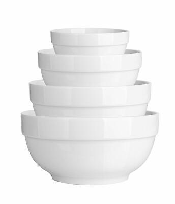 Set of 4 Porcelain Bowls White Round Serving/Mixing Soup Bowl Set Microwave Fit - Microwave Safe Porcelain Bowls